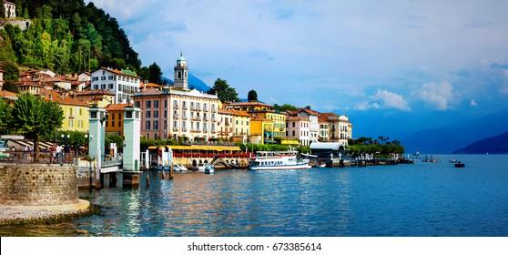beautiful Lago di Como - panorama of Bellagio town. North of Italy, Lombardy