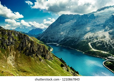Beautiful Lago Fedaja in the Dolomite alps, Italy. View from Viel dal pan