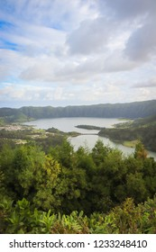 Beautiful lagoon surrounded by mountains. Ancient volcano crater. Seven Cities lagoon Azores Islands Portugal