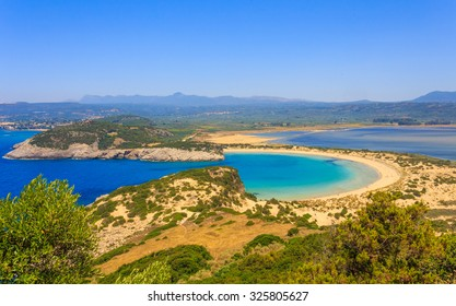Beautiful lagoon of Voidokilia from a high point of view, Messenia, Greece
