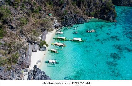 Beautiful lagoons karst landform and island in Coron island, Palawan, the Philippines