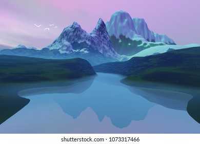 Beautiful lake, 3D rendering, an alpine landscape, snowy mountains, birds in the sky and colored clouds.