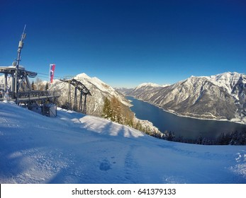 Beautiful lake Achensee in Tyrol, Austria. It is a traditional region for active sportive vacations located in the alps near Innsbruck. Images taken in winter with snow on the mountains.