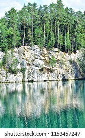 beautiful lake in adrspach national park in czech republic
