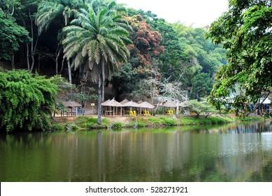 Beautiful lake in Africa. Democratic Republic of the Congo.