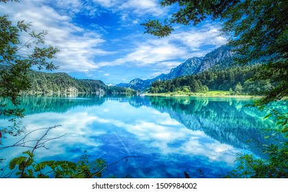 The beautiful lake Alpsee - Hohenschwangau in Alps Mountains of Germany - Bavaria