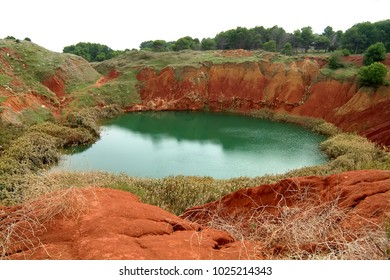 beautiful lake in ancient bauxite quarry in Otranto, Apulia, Italy