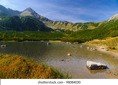 Beautiful lake in autumn colors in Tatra Mountains, Slovakia