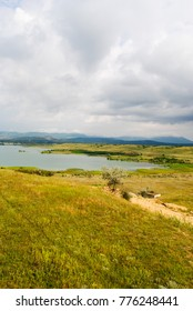 A beautiful lake in Belogorsk, the Republic of Crimea, a landscape with a lake and mountains, the Crimean landscape