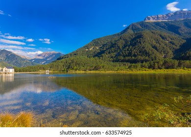 Beautiful lake between mountains with reflections in the water