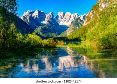 Beautiful Lake Durrensee or Lake Landro and the Dolomites mountain in the morning at South Tyrol Italy