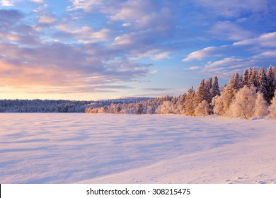 A beautiful lake in Finnish Lapland in Winter. Photographed at �ijäjärvi at sunset.