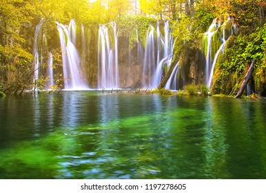 Beautiful lake in forest with waterfall of national park Plitvice, Croatia
