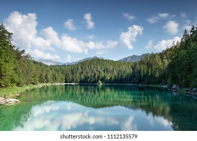 beautiful lake high in the alp mountains