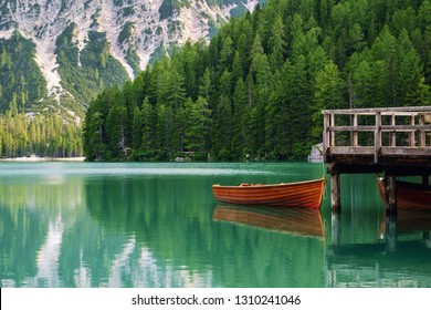 Beautiful lake in the italian alps, Lago di Braies in Dolomites Mountaines