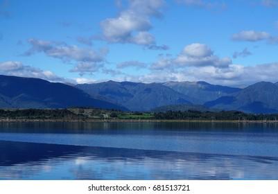 Beautiful Lake Kaniere at Hokitika West Coast in New Zealand with mountain range background