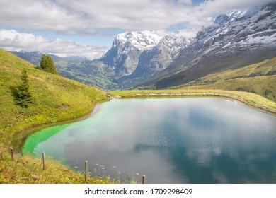 Beautiful lake in Kleine Scheidegg, Lauterbrunnen, Switzerland