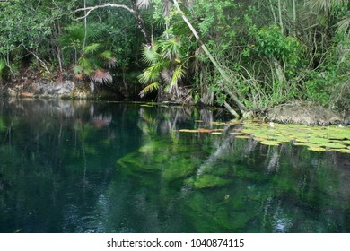 beautiful lake of Labnaha cenote & eco park in Yuacatan, Mexico