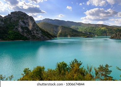 Beautiful lake Lac de Castillon in southern Alps of France