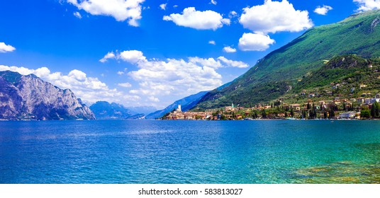 Beautiful lake Lago di Garda. View of Malcesine town. Italy