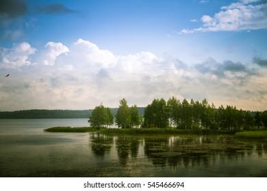 A beautiful lake landscape in Finland