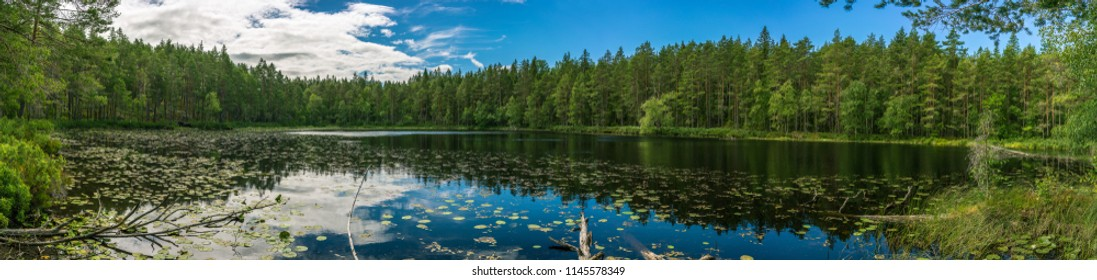 Beautiful lake landscape panorama in Smaland, Sweden