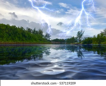 beautiful lake landscapes with thunderstorms lightning