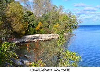 The beautiful Lake Michigan shoreline in autumn along the Kenosha natural shoreline at the sand dune preserve.