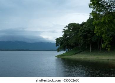 A beautiful lake with mountain and trees,Chon Buri,Thailand