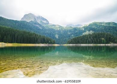 A beautiful lake in the mountains. Black Lake, Montenegro.