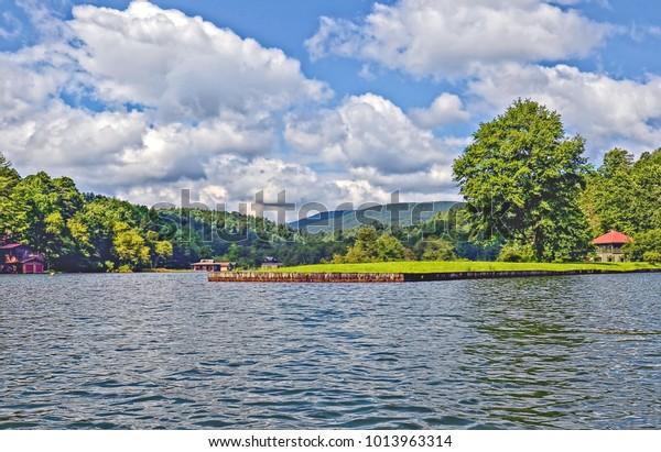 Beautiful lake and mountains landscape