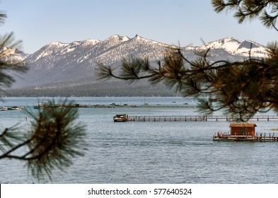 Beautiful lake and mountains landscape in Lake Tahoe