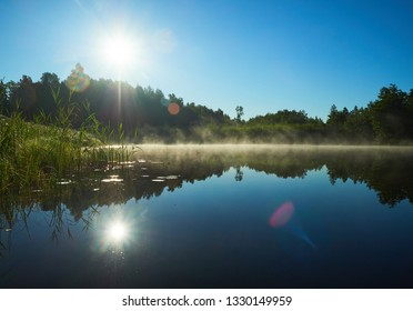 Beautiful lake on a summer day in Estonia. Sun shining on forest and woods in the blue sky. Refection on the water in heavy backlight. Lensflare and fog on the lake. Lodja, Estonia.