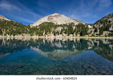 Beautiful Lake Reflections at the Mount Lassen Volcano in California