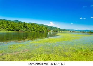 Beautiful lake Sabljaki near Ogulin in Lika, Croatia, in spring, mountain landscape