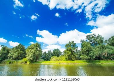 Beautiful lake shore in nature park and birds reservation Kopacki rit in Slavonia, Croatia