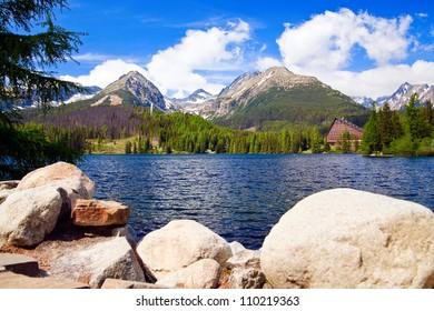 beautiful lake in Slovakia in High Tatras named Strbske Pleso