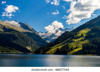 Beautiful lake Speicher Durlassboden in the Austrian Alps