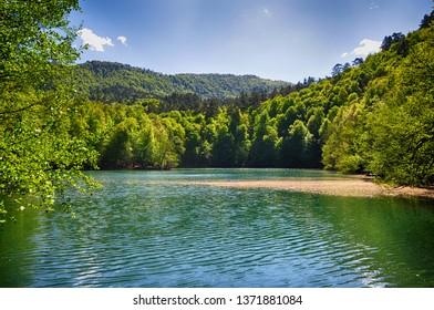 Beautiful lake and spring landscape in Seven Lakes, Yedigoller National Park Bolu, Turkey