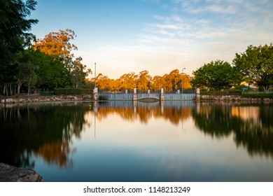 Beautiful lake in Springfield Lakes, Ipswich City, Queensland in the afternoon.