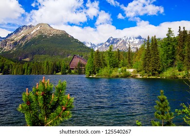 beautiful lake Strbske Pleso with a hotel in High Tatras, Slovakia