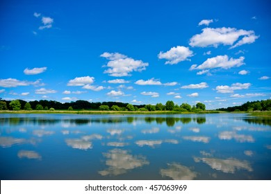 Beautiful lake in summer