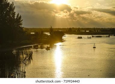 beautiful lake sunset asian landscape