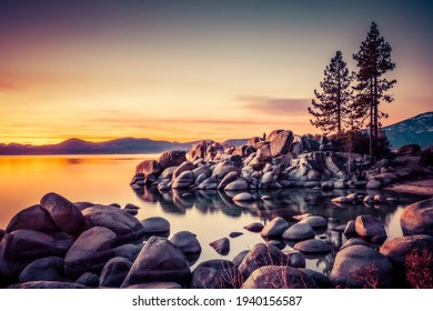 beautiful Lake tahoe at sunset with reflection in water.