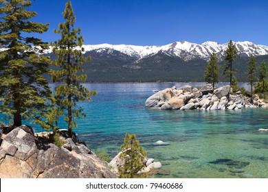 beautiful Lake Tahoe with view on Sierra Nevada
