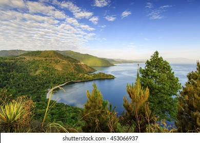 Beautiful lake Toba and Blue sky on the water