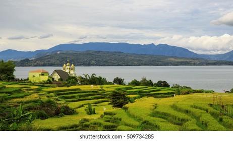 beautiful lake Toba,,north sumatra and view samosir island,,north sumatra