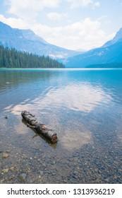 beautiful lake, tree, mountain and blue sky at Emerald Lake, Alberta, CANADA