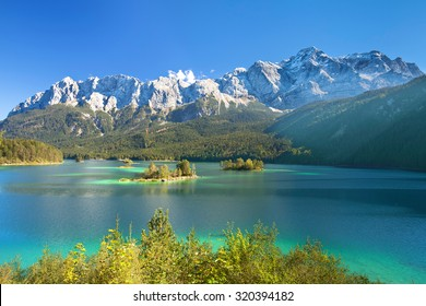 beautiful lake view to eibsee and zugspitze, bavarian landmark