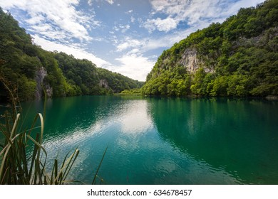 Beautiful Lake View with Foreground in Plitvice National Park, Croatia